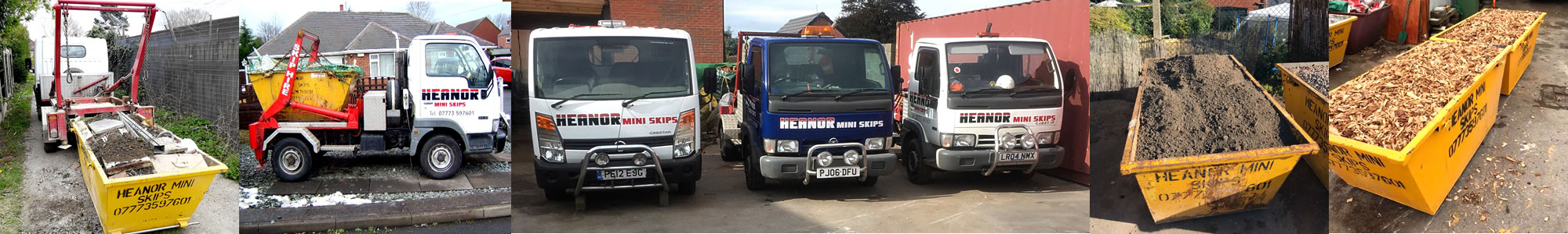 A number of pictures of skips and skip lorries.